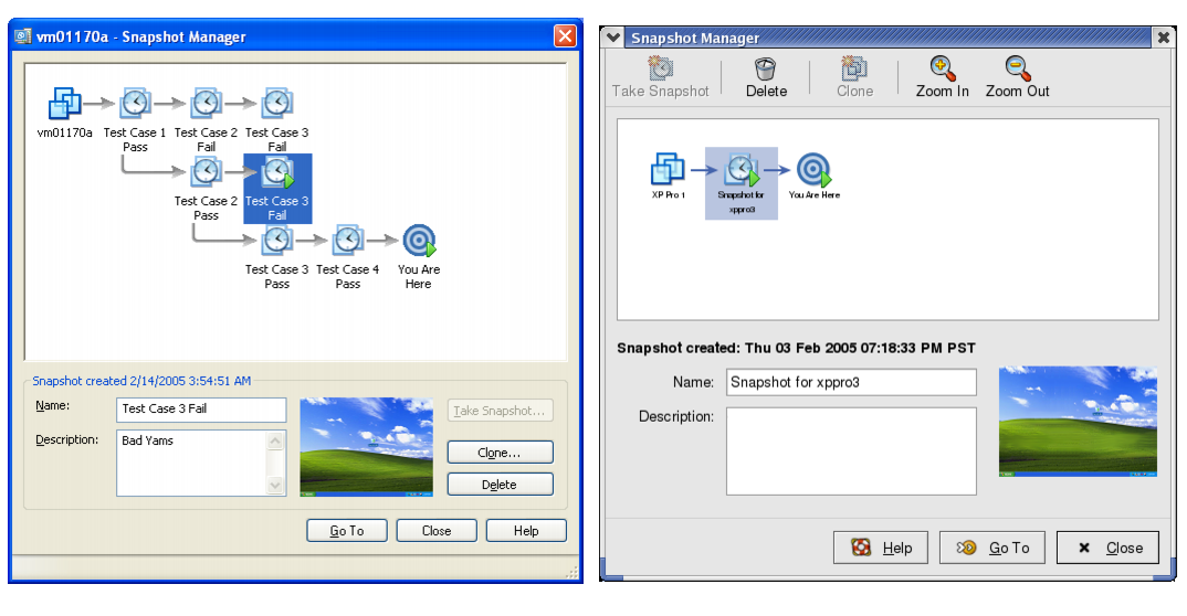 снапшоты на windows и linux